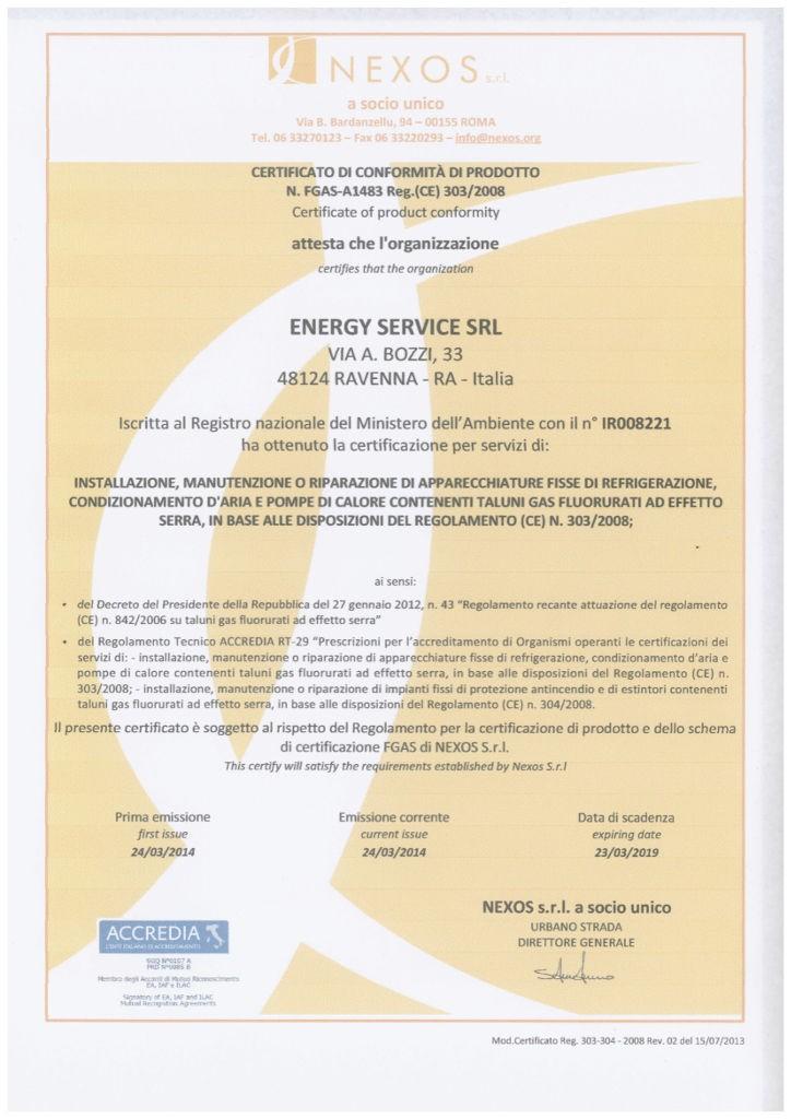 Certificato conformità prodotto